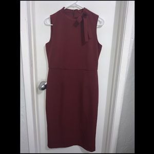 Maggy London PlumPink Midi Sleeveless Dress w/ Bow